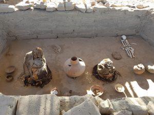 mummies at a tomb in Chauchilla necropolis, Peru