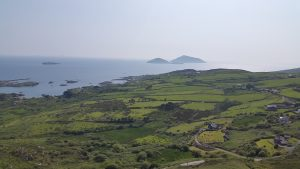 Green landscape at a seaside promontory in County Kerry, Ireland. Scariff and Deenish Islands at the background