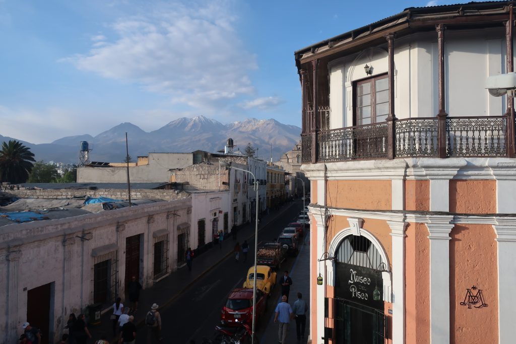 Chachani volcano rising behind the city of Arequipa in Peru
